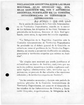 Argentine statement on the Falkland (Malvinas) Islands and Antarctic territories made at the Inter-American Commission for Dependent Territories at Havana