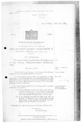 Falkland Islands Dependencies, Application of Colony Laws (Dependencies) Ordinance, no 1 of 1952
