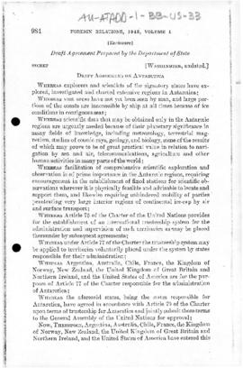 United States draft agreement for placing Antarctica under a United Nations trusteeship