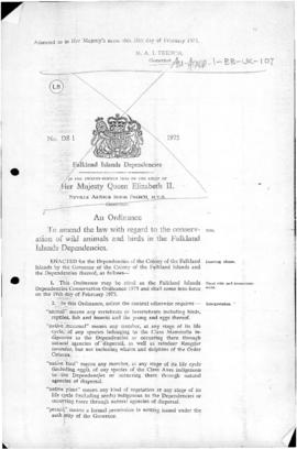 United Kingdom, Falkland Islands Dependencies Conservation Ordinance 1975