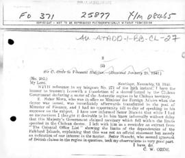 British despatch from Santiago concerning the Chilean decree no. 1,747 of 6 November 1940