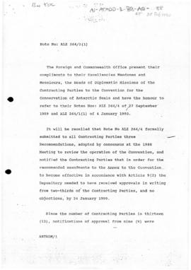 United Kingdom, Foreign and Commonwealth Office, status of the Convention for the Conservation of...
