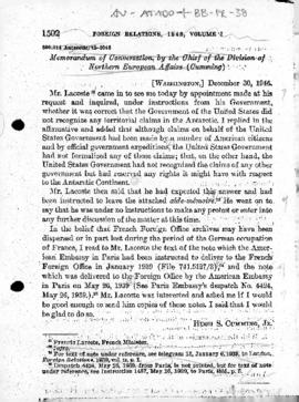 United States' memorandum of conversation concerning the French claim to Adélie Land