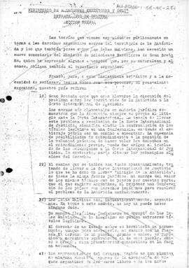 Argentine statement raising objections to the British proposal to submit the dispute over Antarctic claims to the International Court of Justice