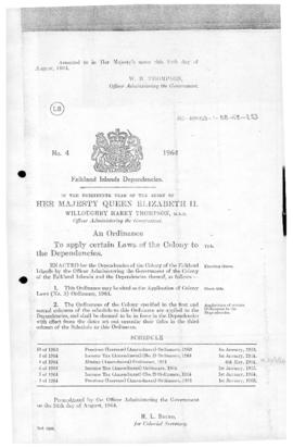 Falkland Islands Dependencies, Application of Colony Laws (No.3) Ordinance, no 4 of 1964