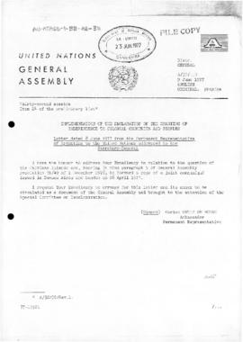 Submissions to the United Nations concerning independence of colonial peoples