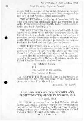 Seal Fisheries (Crown Colonies and Protectorates) Order in Council, 1913