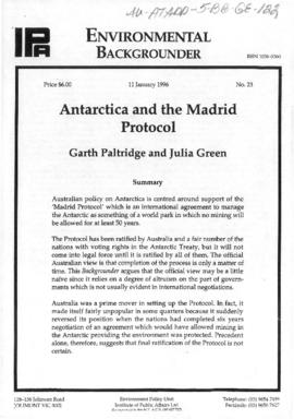 "Garth Paltride and Julia Green ""Antarctica and the Madrid Protocol"" Environmental Backg..."