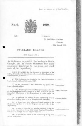 Falkland Islands, Peace Preservation South Georgia (Aliens) Ordinance, no 6 of 1919
