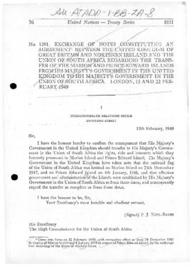 Agreement between the United Kingdom and South Africa concerning the transfer of Marion and Prince Edward Islands, and related correspondence