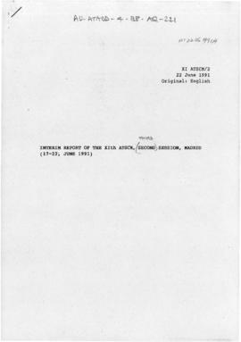 Eleventh Special Antarctic Treaty Consultative Meeting, third session (Madrid), working paper. XI ATSCM/2/WP1 - Interim report of the XIth ATSCM, Madrid (17-22 June 1991), and draft press release