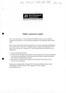 "Environment Australia ""Public comments sought!"""