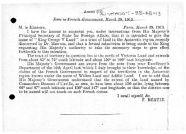 British note to France of 29 March 1913 concerning the naming of King George V Land and the limits of Adélie Land