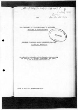 Parliament, House of Representatives, Explanatory memorandum Petroleum (Submerged Lands) Amendment Bill 1980