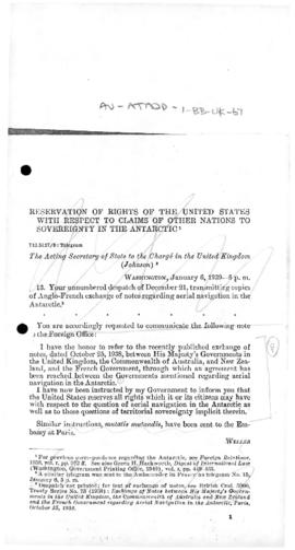 United States note to the United Kingdom reserving United States rights in connection with the Agreement with France on aerial navigation in the Antarctic