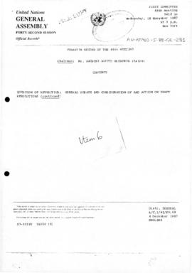 "United Nations General Assembly, Forty-second session, First Committee,  Verbatim Record of the 48th Meeting, Question of Antarctica: general debate and consideration of and action on draft resolutions"" (A/C.1/42/PV.48)"