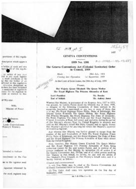 United Kingdom, Geneva Conventions Act (Colonial Territories) Order in Council