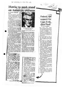 "Press article ""Hawke to push stand on Antarctic overseas"" The Age; and related articles 1989-06-01 to 1989-06-05"