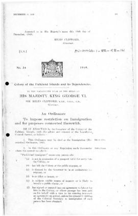 Falkland Islands Dependencies, Immigration (Restriction) Ordinance, no 34 of 1949