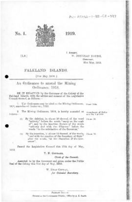 Falkland Islands, Mining Ordinance (Amendment), no 1 of 1919