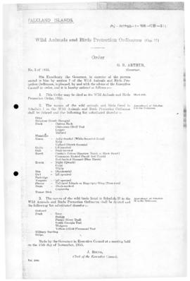 Falkland Islands, Wild Animals and Birds Protection Order, no 3 of 1955