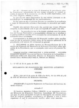 Decree no. 457 regulating the functions of the Chilean Antarctic Institute