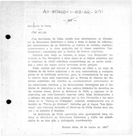 Chilean note to Argentina expressing reservations about a tourist voyage to Antarctica organised by the Argentine Navy