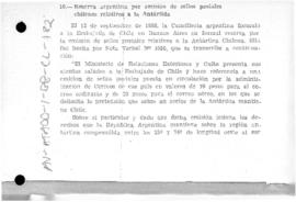 Argentine note to Chile reserving its rights in response to Chilean stamps depicting territories ...