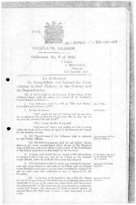 United Kingdom, Seal Fishery (Consolidation) Ordinance, 1921
