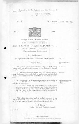 Falklands Islands, Seal Fishery (Amendment) Ordinance, no 4 of 1953