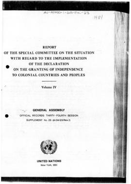 United Nations General Assembly, 34th session, Report of the Special Committee on the situation with regard to implementation of the Declaration on the Granting of Independence to Colonial Countries and Peoples