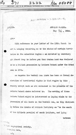 United Kingdom, Letter from the Foreign Office concerning the status of Graham Land and the Weddell Sea