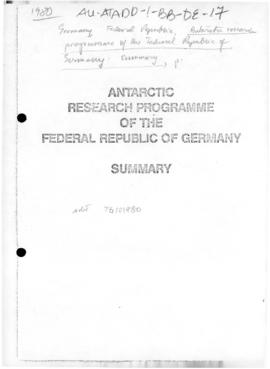 Federal Republic of Germany, Antarctic Research Programme, summary, and related press article