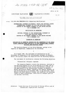 Examples of treaties in which Argentina and the United Kingdom asserts rights to Islas Malvinas/Falkland Islands