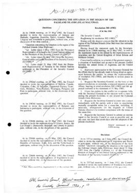 United Nations Security Council resolution 505 (1982) authorising the Secretary-General to continue his efforts to bring about and end to the conflict in and around the Falkland (Malvinas) Islands