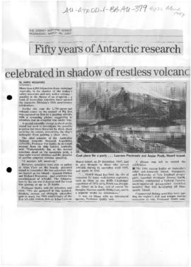 "Woodford, James ""Fifty years of Antarctic research celebrated in shadow of restless volcano&..."