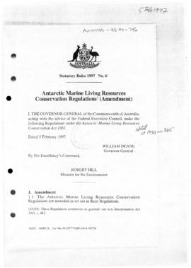 Australia, Antarctic Marine Living Conservation Regulations (Amendment)
