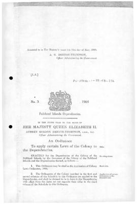 Falkland Islands Dependencies, Application of Colony Laws Ordinance, no 3 of 1960