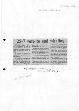 Press articles concerning IWC vote to end commercial whaling