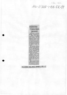 Press articles concerning the Falkland Islands/Malvinas conflict, December 1982-January 1983