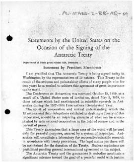 US Department of State, Statement by President Eisenhower on the occasion of the signing of the Antarctic Treaty, and statement by Chile