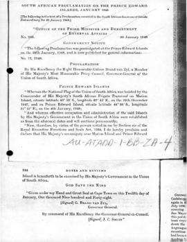 South African proclamations on the Marion and Prince Edward Islands