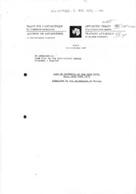 "Fifteenth Antarctic Treaty Consultative Meeting, Paris, Information paper 11 ""List of documents of the VIII ATCM, Oslo, 9-20 June 1975"" (XV ATCM/INF/11) (Norway)"