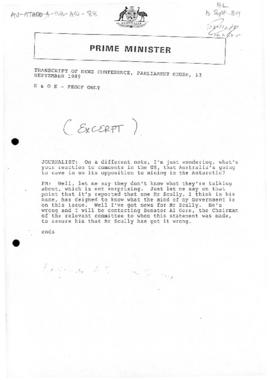 Australia, Prime Minister Bob Hawke, Transcript of News Conference, Parliament House, Canberra; a...