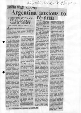 Press articles concerning the Falkland Islands/Malvinas conflict, September 1982