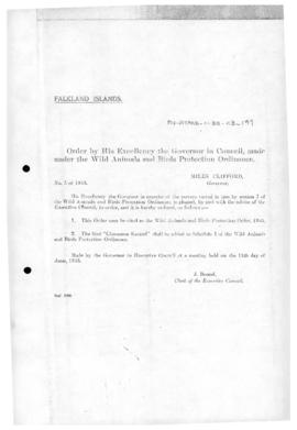 Falkland Islands, Wild Animals and Bird Protection Order in Council, no 5 of 1953