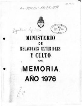 Argentina, Ministry of Foreign Affairs and Worship, Memoria 1976
