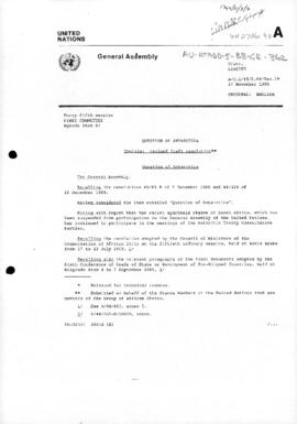 "United Nations General Assembly, Forty-fifth session, Item 67 ""Question of Antarctica, Tunisia: revised draft resolution"" (A/C.1/45/L.64/Rev.1). Includes report on the voting on 1990-11-28."