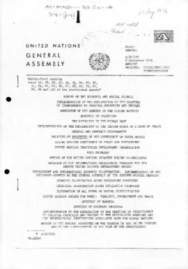 United Nations General Assembly, 31st session, report of a Non-Aligned Movement political declaration which called for return of the Malvinas (Falkland Islands) to Argentina