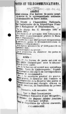Order establishing a post office in Adélie Land open for ordinary and registered mail